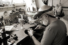 Free A Very Old Jewelery Shop And A Jeweler In Work Stock Images - 25470634