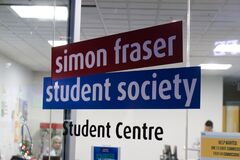 Free A View Of Sign `Simon Fraser Student Society` At Simon Fraser University Royalty Free Stock Images - 183027689