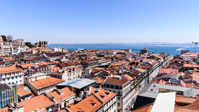 A View Part Of The City Lisbon And Tejo River. Stock Photography