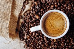 A White Cup Of Coffee Royalty Free Stock Photos