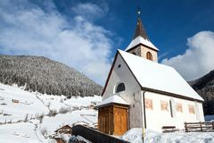 Free A Wintertime View Of A Small Church With A Tall Steeple Royalty Free Stock Photos - 28742148