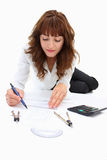 A Woman Drawing Stock Image