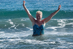 Free A Woman Of Mature Age In A Swimsuit Stock Image - 73675041