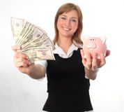A Woman Saving Her Dollars Stock Image