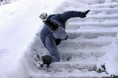 A Woman Slipped And Fell On A Wintry Staircase Stock Image
