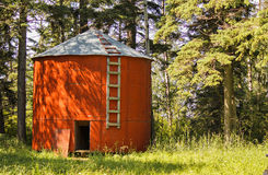 A Wooden Red Grain Bin. Royalty Free Stock Photo