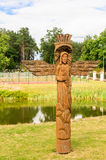 A Wooden Sculpture On The Territory Of The Church Of Of The Holy Trinity. Liskiava Royalty Free Stock Photo