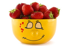 Free A Yellow Cup With Strawberries Stock Photo - 20200170
