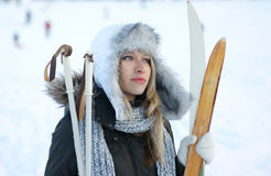 Free A Young And Cute Blond With Ski Sticks Royalty Free Stock Photos - 16847498
