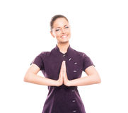 Free A Young And Happy Woman In A Purple Uniform Royalty Free Stock Photography - 37875247