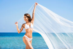 Free A Young Brunette Woman In A White Swimsuit On The Beach Stock Photography - 35805592