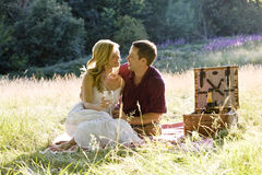 A Young Couple Having A Picnic, Embracing Stock Photography