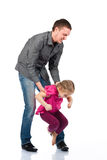 A Young Father And Daughter Playing Stock Image