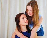 A Young Teenage Daughter With A Mother Stock Image