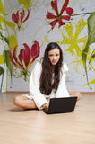 A Young Woman In A White Robe With Laptop Stock Photos