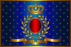 A1.2 blue. Vector illustration of a crown of a laurel wreath and gold tape with a red oval place under a trade mark in the center on a blue background with gold royalty free illustration