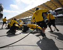 A1 Team Malaysia pit crews practice tyre change Royalty Free Stock Photography