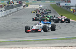 A1 Teams racing at the start of A1GP race. Royalty Free Stock Photo