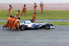 A1GP Race Car Assistance Stock Photo