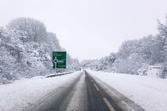 A31 covered in snow Stock Photo
