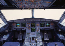 A319 Cockpit. Airplane cockpit of a airbus A319