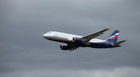 A320 in flight Stock Images