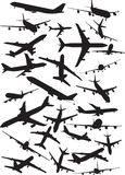 A340 silhouettes. Commercial flight silhouettes. For your design stock illustration
