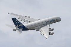A380 durante vuelta Foto de archivo libre de regalías