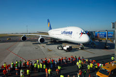 A380 first time in Prague. PRAGUE, CZECH REPUBLIC - OCTOBER 2: first-ever arrival of the largest passenger aircraft today, Airbus A380, to the Airport Prague on stock photography