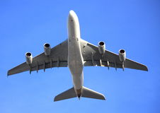 A380 flying low. A380 jet aircraft flying low overhead Stock Image