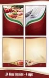 A4 4 paginiert Menüschablone - italienische Gaststätte Lizenzfreie Stockfotografie
