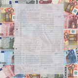 A4 paper on euros. Blank sheet of A4 paper on euros illustration Royalty Free Stock Image