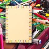 A4 sheet of paper in the background stationery. Illustration of a sheet of A4 paper in a frame of colored paper clips in the background stationery stock illustration