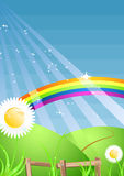 A4 vector seasonal nature template. Colorful rainbow template and green sunny landscape for your text Stock Photos