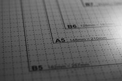 A5 paper metric scale Stock Images