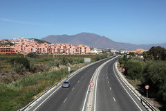 A7 autosnelweg dichtbij Manilva, Spanje Stock Afbeeldingen