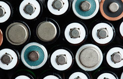 AA大小电池的混合 库存照片