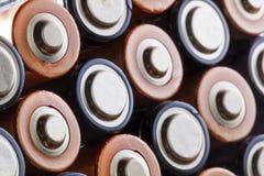 AA电池特写镜头  免版税图库摄影