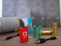 AA电池类型 内部细节和特写镜头 免版税图库摄影