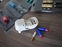 AA电池类型 内部细节和特写镜头 免版税库存照片