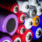 Aa, aaa, fondo dell'estratto di energia di 18650 batterie, fine su Fotografia Stock