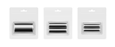 AA alcalino negro, AAA, baterías de C en ampolla Imagen de archivo libre de regalías