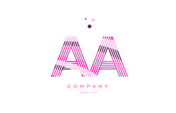 Aa a alphabet letter logo pink purple line icon template vector. Aa a alphabet letter logo pink purple line font creative text dots company vector icon design vector illustration