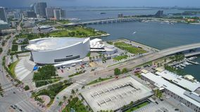 AA Arena Miami. Aerial video of the American Airlines Arena Downtown Miami stock video