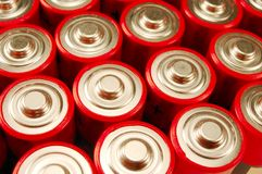AA Batteries. Size AA red batteries readyto be used Royalty Free Stock Photos