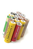 AA batteries. A bunch of batteries on a white background Stock Photo
