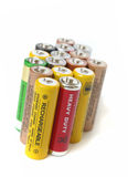 AA batteries. A bunch of batteries on white background Stock Photo