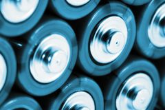 AA batteries in cold blue Royalty Free Stock Image