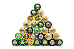 AA batteries in a pyramide isolated Royalty Free Stock Images