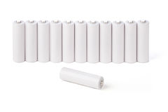 AA batteries stand in a row Stock Photos